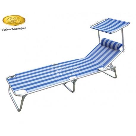 Lit de plage bain de soleil avec ombrelle